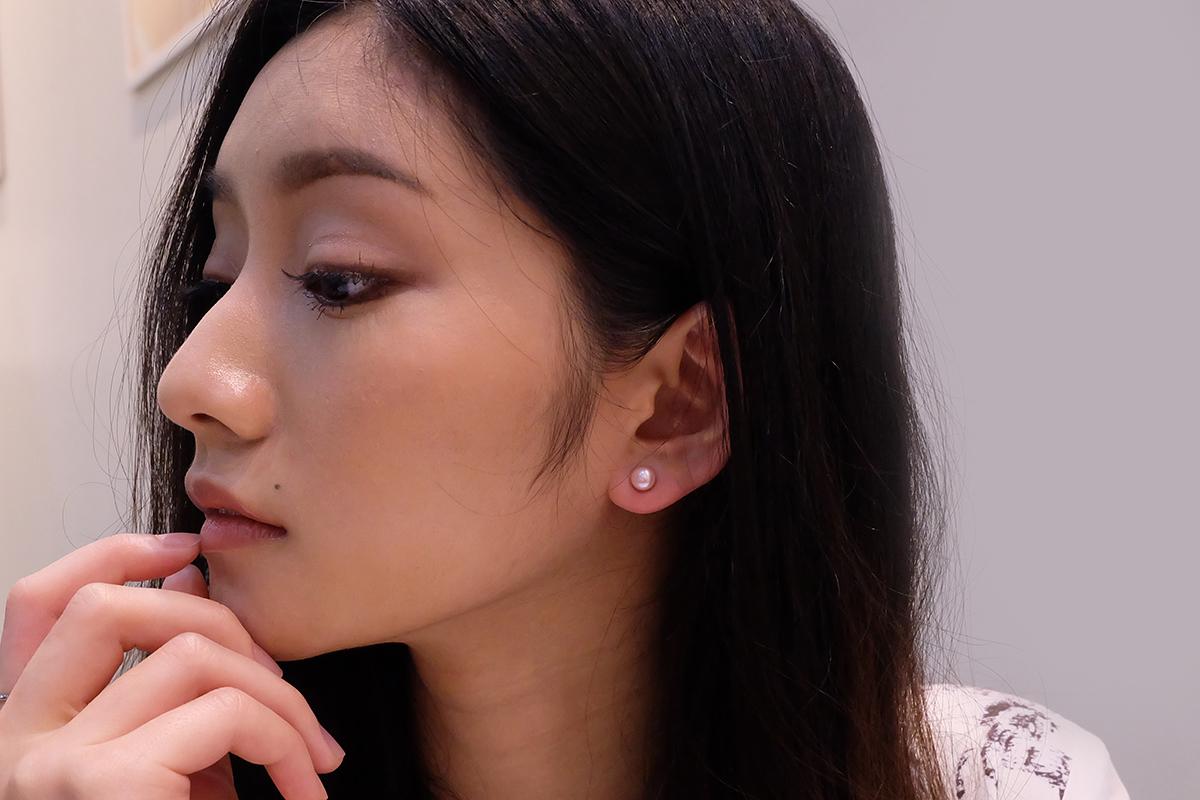 RAVIPA Womens Mini Single Pearl Studs Earrings 18k White//PinkGold Jewellery